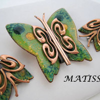 Butterfly Matisse Brooch Earrings Enamel Copper Mid Century Rare