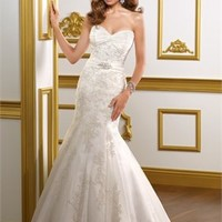 Mermaid Sweetheart Embroidered lace on net wedding dress WD2124