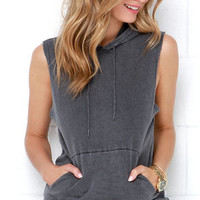 RVCA Label Washed Grey Sleeveless Hoodie