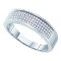 10k White Gold 0.25Ctw Diamond  Micro Pave Mens Wedding Ring Band: Ring