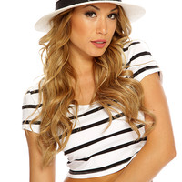 White Black Horizontal Striped Accent Sexy Summer Crop Top