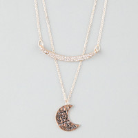 Full Tilt Love You To The Moon 2 Row Necklace Gold One Size For Women 25579762101