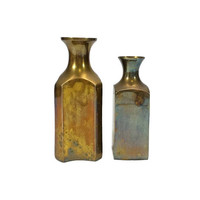 Brass Bottles Vintage Small Gold Vase Apothecary Jars Square Aged Patina Decor