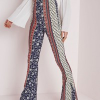 Missguided - Ditsy Floral Print Jersey Flare Trousers