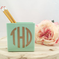 Monogrammed Pencil Cups