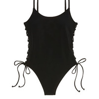 Lace-Up Side One-Piece - PINK - Victoria's Secret