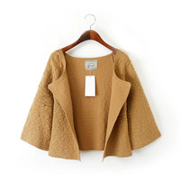 BG21 Cardigan for female Korean Fashion Jacquard short Sweaters Knitted flare sleeve brown Casual loose Outwear women vogue