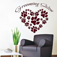 Wall Decor Vinyl Decal Sticker Lettering Animals Paw Prints Grooming Salon Dog Puppy Pets Pet Shop Kids Room Living Room Home Interior Design Kg880