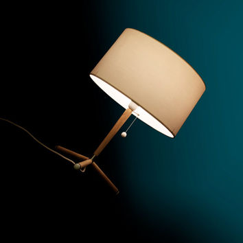 New  table lamp in oak wood, cotton lamp shade