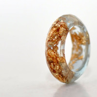 Transparent Gold Flakes Multifaceted Band Resin Ring Size 7.5, Gold Leaf Handmade Resin Jewelry