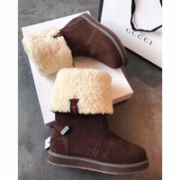 Best Online Sale Gucci Snow Wool Boots Brown Women Gaotong Boots Thickened Flat Shoes
