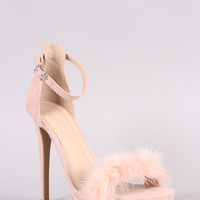 Wild Diva Lounge Suede Faux Fur Band Stiletto Heel