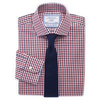 Red & white check non-iron business casual slim fit shirt