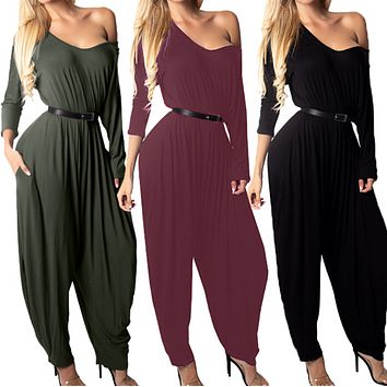 New Women's Fashion Sexy Strapless Long Sleeve Jumpsuit
