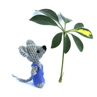 little mouse doll, small amigurumi mouse, funny toy for children, stuffed miniature, mice in royalblue pants, grey rat, cute gift fot teens