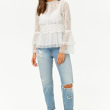 Embroidered Lace & Mesh Top