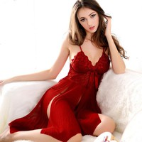 Sexy Open Nightdress Lace Erotic women  Knee-Length Lingerie nightdress Ladies Night Party Valentine's Day Night Dress Costumes