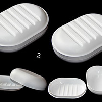 2 ALAZCO Travel Soap Dish Large Oval Container Box Case White Great For Home School Gym