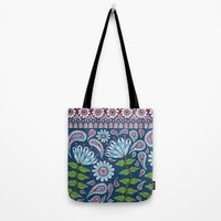 Evening Blue Floral Tote Bag by Sarah Oelerich