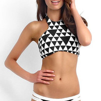 Black and White Triangle Print Halter Bikini with Cut-Out Buttom