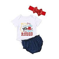 First Rodeo Three Piece Outfit for Your Little Cowgirl Baby
