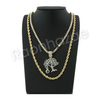 """GOLD MONEY TREE PENDANT W/ 24"""" ROPE /18"""" TENNIS CHAIN NECKLACE S12"""