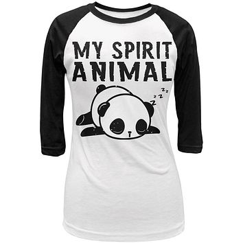 My Spirit Animal Tired Panda Cute Juniors 3/4 Sleeve Raglan T Shirt