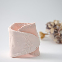blush pink linen wrist cuff bracelet - floral embroidered details - mothers day gift - free shipping - gift for her