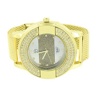 Techno Pave Mens Watch Silver Tone Dial