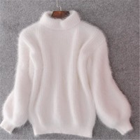 2016 Autumn New Arrived Sweater Fashion Loose Mohair Sweater Women Long Sleeve Turtleneck Neck Sweater Pullovers Female Sweaters