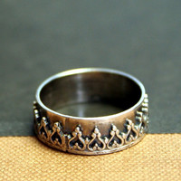 Princess Crown Sterling Silver Ring Gothic by Decadence2Jewelry