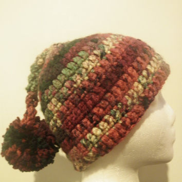 Warm skullcap with pom pom, funny crochet hat, ugly sweater party hat
