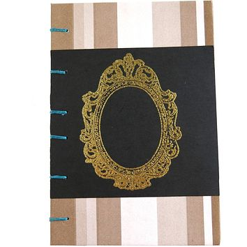 """Brown Gold Frame - Coptic Journal - A6 - 4x6 Graph - Bullet Journal - Planner - Coptic Bullet Journal 4"""" x 6"""" - 96 sheets 192 pages"""