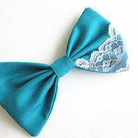 Lace Teal Hair Bow, Bow Hair clip, Fabric Hair Bow, Big Hair Bow, Women's Hair Bow, barrette.