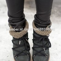 Winter Warm Fur Snow Boots Black Brown Leather Women Wedge Ankle Boots Lace Up Height Increasing Outdoor Casual Shoes Woman