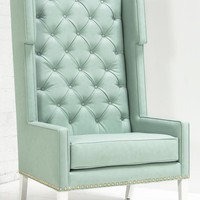 www.roomservicestore.com - Tangier Wing Chair in Aqua Faux Leather