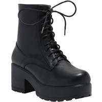 Black Wide Heel Lace-Up Boots