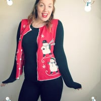 Vintage Snow Man & Snowflake Ugly Christmas Sweater Party Vest
