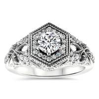Hexagon Halo Vintage Inspired Engagement Ring -  Milan