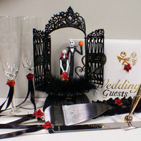 Nightmare before Christmas Wedding Cake topper Lot Disney glasses, knife, book