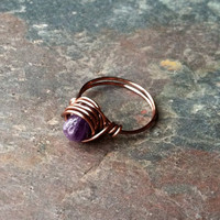 Amethyst ring, wire wrapped copper, thin band