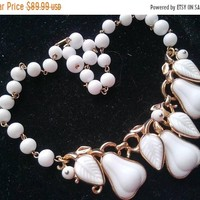 ON SALE Trifari Glass Statement Necklace - Vintage White & Gold Jewelry - 1960's 1970's - Mad Men Accessories - Pear Fruit Motif Jewelry