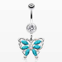 Vintage Turquoise Butterfly Belly Button Ring