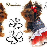 Chihuahua accessories, dog carriers, puppy clothes, dog dresses, Denim Dog Clothes, Jacket, Dress