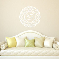 Monogram Round Hearts Entwined Nursery Vinyl Wall Decal - Wall Decal Frame Style D 22383
