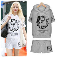Graphic Print Short Sleeve Hooded Sweatshirt and Mini Shorts