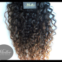 Curly Ombre Hair Extensions / Brazilian Human Hair / Deep Curl Texture / 100g Weft Bundle