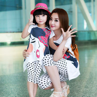 2016 Summer family clothing sets  girl clothing kids clothes for mother and daughter  Leisure set clothes 100% cotton