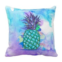 Watercolors Background & Pineapple Illustration Throw Pillow