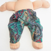 """BITTY BABY CLOTHES, Cabbage Patch Clothes- for 14 inch doll- also fits 15"""" Bitty Baby, Blue Green Red Gold Suede Faux Suede Pants"""